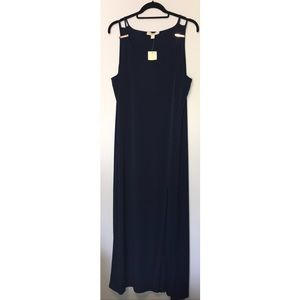 NWT Michael Kors Navy Maxi Dress w/gold detail